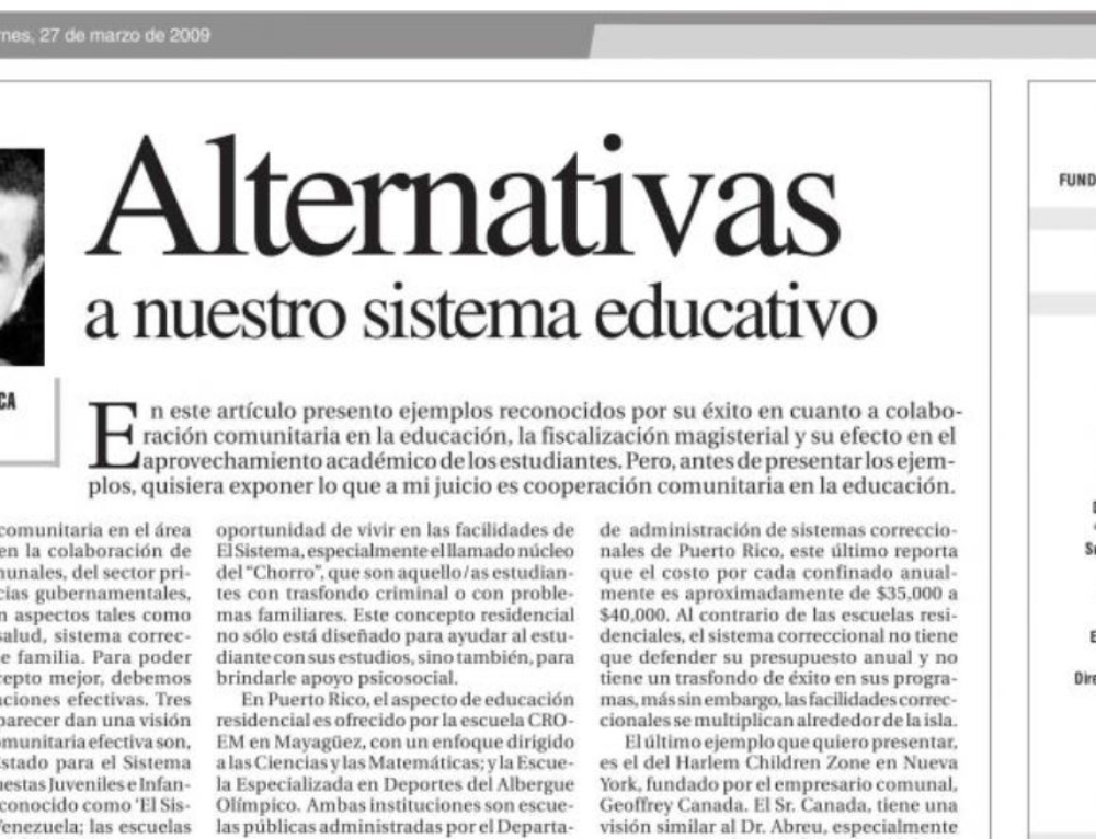 Alternativas a nuestro sistema educativo